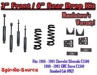 "1988 - 91 Chevrolet GMC C1500 3"" 6"" Drop Lowering Kit 3/6 STANDARD CAB + SHOCKS"