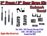 "1988 - 91 Chevrolet GMC C1500 3"" 5"" Drop Lowering Kit 3/5 STANDARD CAB + SHOCKS"
