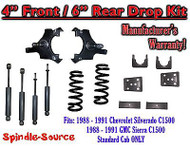 "1988 - 91 Chevrolet GMC C1500 4"" 6"" Drop Lowering Kit 4/6 STANDARD CAB + SHOCKS"