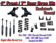 "1988 - 91 Chevrolet GMC C1500 4"" 7"" Drop Lowering Kit 4/7 STANDARD CAB + SHOCKS"