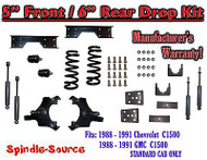 "1988 - 91 Chevy GMC C1500 5"" 6"" Drop Lowering Kit 5/6 STANDARD CAB+ SHOCKS NOTCH"