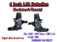 "1988 -1991 Chevy / GMC C15 C1500 STANDARD CAB 4"" LIFT Lifted Spindles Trucks"