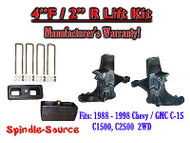 "1988 -1998 Chevy / GMC C15 C1500 C2500 2WD 4"" Lift Lifting Spindles + 2"" Blocks"