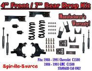 "1988 - 91 Chevy GMC C1500 4"" 7"" Drop Lowering Kit 4/7 STANDARD CAB+ SHOCKS NOTCH"