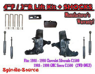 "1988 -1998 Chevy / GMC C15 C1500 C2500 2WD 4"" Lift Spindles + 3"" Blocks + SHOCKS"