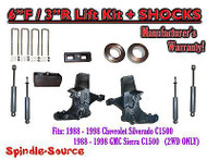 "1988 -1998 Chevy / GMC C15 C1500 C2500 2WD 6"" / 3"" Spindle Lift Kit + SHOCKS"