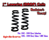 "1992 - 1999 Suburban Yukon Tahoe 1"" FRONT Lowering Drop Coils Springs Kit"
