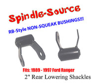 "1989 - 1997 Ford Ranger 2"" REAR Lowering Shackles SET RB-Style SILENT Bushings"