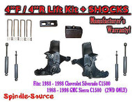 "1988 -1998 Chevy / GMC C15 C1500 C2500 2WD 4"" Lift Spindles + 4"" Blocks + SHOCKS"