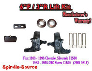 "1988 -1998 Chevy GMC C15 C1500 C2500 2WD 6"" / 3"" Spindle Blocks Spacer Lift Kit"