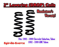 "1992 - 1999 Suburban Yukon Tahoe 3"" FRONT Lowering Drop Coils Springs Kit 92-99"