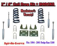 "1994 - 2001 Dodge Ram 1500 V6 Reg Cab 2WD 3"" / 6"" Drop Lowering Kit + SHOCKS"