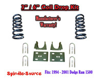 "1994 - 2001 Dodge Ram 1500 V6 Reg Cab 2WD 3"" / 6"" Drop Lowering Kit Coils"