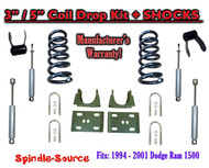 "1994 - 2001 Dodge Ram 1500 V8 Ext Cab 2WD 3"" / 5"" Drop Lowering Kit + SHOCKS"