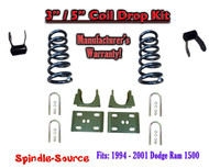 "1994 - 2001 Dodge Ram 1500 V8 EXT Cab 2WD 3"" / 5"" Drop Lowering Kit Coils"