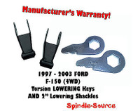 "1997 - 2003 Ford F-150 2"" 3"" Drop Torsion Keys + 1"" 2"" Lowering Shackles 2/2"