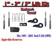 "1997 - 2003 Ford F-150 1"" - 3"" / 3"" Keys Blocks Lift Level Kit FORGED + SHOCKS"