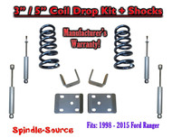 "1998 - 2015 Ford Ranger 4 Cyl. Ext Cab 2WD 3"" / 5"" Drop Lowering Kit + SHOCKS"