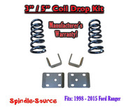 "1998 - 2015 Ford Ranger 4 Cylinder EXT Cab 2WD 3"" / 5"" Drop Lowering Kit Coils"