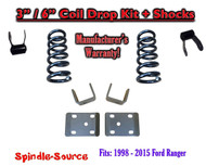 "1998 - 2015 Ford Ranger 4 Cylinder Reg Cab 2WD 3"" / 6"" Drop Lowering Kit Coils"