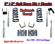 "1998 - 2015 Ford Ranger 4 Cyl. Ext Cab 2WD 3"" / 6"" Drop Lowering Kit + SHOCKS"