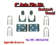 """1997 - 2003 Ford F150 F-150 6"""" Inch Lowering Drop REAR AXLE FLIP KIT U-bolts"""
