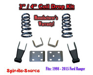 "1998 - 2015 Ford Ranger V6 Ext Cab 2WD 3"" / 4"" Drop Lowering Kit Coils"