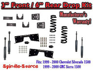 "1999 - 00 Chevrolet Silverado GMC Sierra V6 3"" / 6"" Lower Drop + SHOCKS +C-NOTCH"