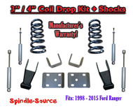 "1998 - 2015 Ford Ranger V6 Ext Cab 2WD 3"" / 4"" Drop Lowering Kit + SHOCKS"