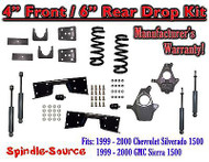 "1999 - 00 Chevrolet Silverado GMC Sierra V6 4"" / 6"" Lower Drop + SHOCKS +C-NOTCH"