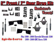 "1999 - 00 Chevy Silverado GMC Sierra V6 5"" / 7 -8"" Lower Drop + SHOCKS +C-NOTCH"