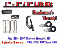 "1999 - 2006 CHEVY GMC 1500 Silverado Sierra 1 - 3"" Keys + TOOL + 3"" Rear Block"