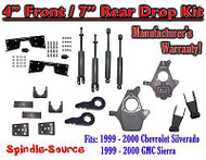 "1999 - 2000 Chevy Silverado GMC Sierra 1500 4WD 4"" / 7"" Drop Kit, Shocks, NOTCH"