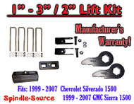 "1999 - 2006 CHEVY GMC 1500 Sierra 1 - 3"" Keys + Extenders + 2"" Rear Block"