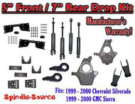 "1999 - 2000 Chevy Silverado GMC Sierra 1500 4WD 5"" / 7"" Drop Kit, Shocks, NOTCH"