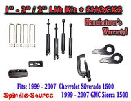 "1999 - 2006 CHEVY GMC 1500 Silverado Sierra 1 - 3"" Keys / 2"" Kit + TOOL + SHOCKS"