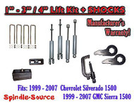 "1999 - 2006 CHEVY GMC 1500 Silverado Sierra 1 - 3"" Keys / 4"" Kit + TOOL + SHOCKS"