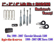 "1999 - 2006 CHEVY GMC 1500 Silverado Sierra 1 - 3"" Keys / 4"" Kit + SHOCKS"