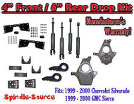 "1999 - 2000 Chevy Silverado GMC Sierra 1500 4WD 4"" / 6"" Drop Kit, Shocks, NOTCH"