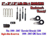 "1999 - 2006 CHEVY GMC 1500 Silverado Sierra 1-3"" Keys / 3"" Leveling Kit + SHOCKS"