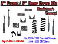 "1999 - 2007 Chevrolet Silverado / GMC Sierra 1500 V6 3"" / 5"" Lower Drop + SHOCKS"