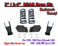 "1999 - 2007 Chevrolet Silverado / GMC Sierra 1500 V6 2"" / 4"" Lower Drop Kit 2/4"