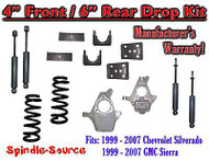 "1999 - 2007 Chevrolet Silverado / GMC Sierra 1500 V8 4"" / 6"" Lower Drop + SHOCKS"