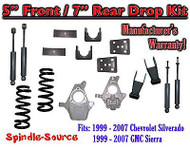 "1999 - 2007 Chevrolet Silverado / GMC Sierra 1500 V6 5"" / 7"" Lower Drop + SHOCKS"