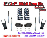 "1999 - 2007 Chevrolet Silverado / GMC Sierra 1500 V8 3"" / 4"" Lower Drop + SHOCKS"