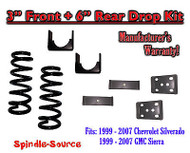 "1999 - 2007 Chevrolet Silverado / GMC Sierra 1500 V8 3"" / 6"" Lowering Drop kit"