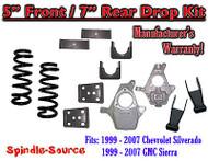 "1999 - 2007 Chevrolet Silverado / GMC Sierra 1500 V8 5"" / 7"" Lowering Drop kit"