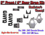 "1999 - 2007 Chevrolet Silverado / GMC Sierra 1500 V8 5"" / 6"" Lowering Drop kit"