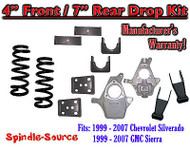 "1999 - 2007 Chevrolet Silverado / GMC Sierra 1500 V8 4"" / 7"" Lowering Drop kit"
