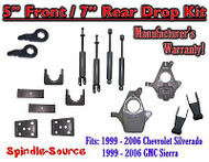"1999 - 2007 Chevrolet Silverado GMC Sierra 1500 4WD 5"" / 7"" Drop Kit + Shocks"